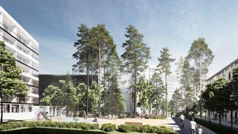 Kuvaussuunta metroasemalta itään. Vasemmallaa Kaitaantien reunassa oleva 8-kerroksinen asuintalo ja keskellä puistomainen Keskuspiha.