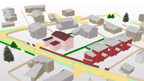 Otexturerade byggnader, gatu- och grönområden samt ljusstolpar snett uppfrån sett i 3D.