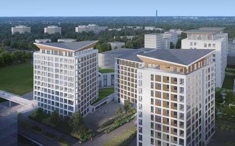 Illustration of block of flats in Tuulenristi Tapiola.