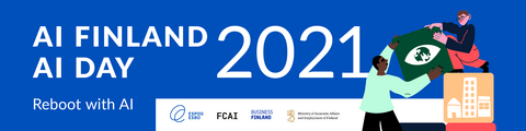 Logos of organizers of AI Finland & AI Day 2021, The City of Espoo, FCAI, Business Finland and Ministry of economic affairs and employment