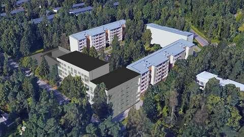 Havainnekuvaan sijoitettu uusi kerrostalorakennus tontin etelä osaan olemassa olevien rakennusten tuntumaan.