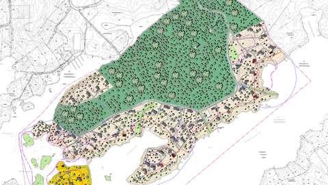 På illustrationen visas möjliga placeringar av byggnaderna i planområdet.