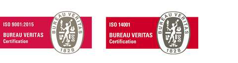 Sertifikaattilogot ISO 9001 ja ISO 14001
