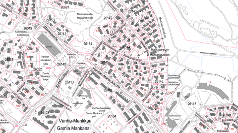 Kartvy. Med linjer, text och symboler visas bland annat byggnader, trafikleder, platser och områden.