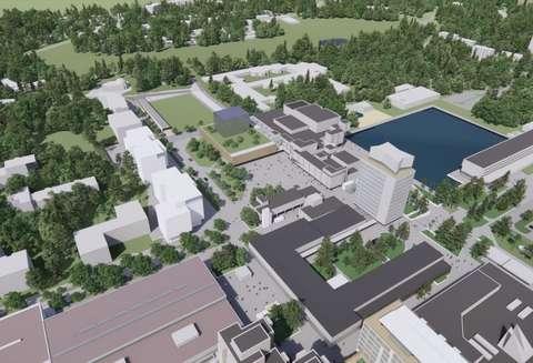 Havainnekuva Espoon kulttuurikeskuksen laajennuksen sijoittumisesta vihreän kentän ja Kulttuuriaukion väliin.