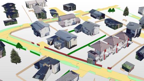 Byggnader med textur samt gatu- och grönområden visas snett uppfrån i 3D-vy.
