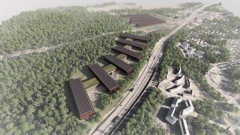 Ylhäältä otettu havainnekuva, jossa näkyy suunnitellut datakeskusrakennukset, metsää ja Kehä III.