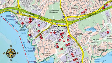 Olika objekt, till exempel museer, visas som numrerade bollar på en guidekarta. Objektens förklaringar syns inte på den här kartan.