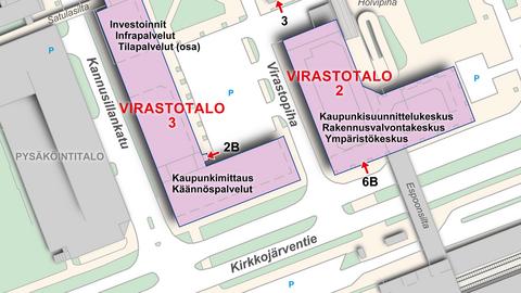 Karttanäkymässä on kaksi virastotaloa ja niiden ympäristön kulkuväyliä, sekä tekstein merkitty virastojen nimiä ym. tietoa.