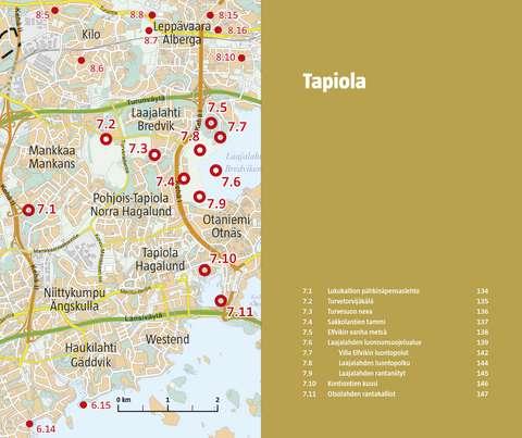 Tapiolan alueen kohteet kartalla