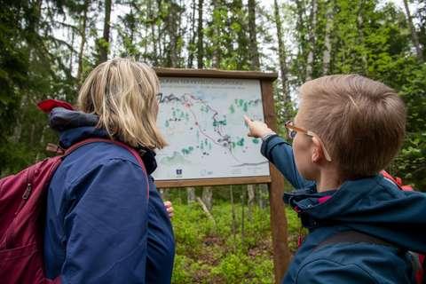 Kaksi ihmistä metsässä tutkimassa infotaulua.