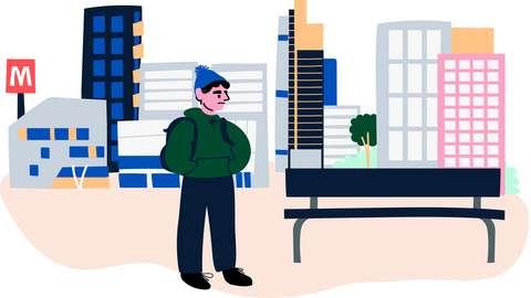 Piirroskuva: nuori mies seisoo reppu selässään penkin vieressä.
