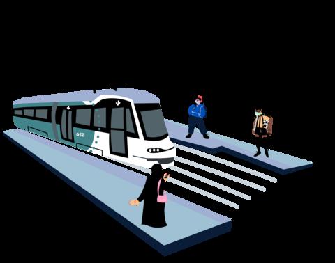 Piirroskuva: raitiovaunu ja kolme ihmistä maskit kasvoillaan.